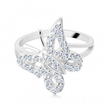 Gyűrű 925 ezüstből - hajlított ragyogó cirkonköves pillangó
