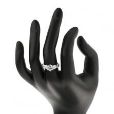 Gyűrű 925 ezüstből - cirkónia koronában, négyzet kövek a száron