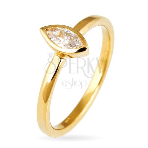 Gyűrű 925 ezüstből - kiemelkedő cirkónia búzaszem fogatban, arany árnyalat