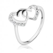 Gyűrű sterling ezüstből - összefonódott szívek, tiszta kövekkel
