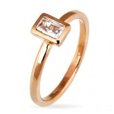 925 ezüst gyűrű - kiemelkedő cirkónia keretben, bronz árnyalat