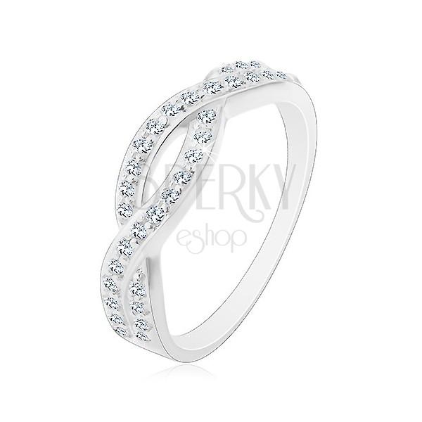 Gyűrű 925 ezüstből - fonott minta tiszta kövekkel