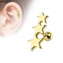 Tragus piercing sebészeti acélból - három összekötött csillag, golyó, különböző színek