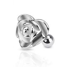 Piercing a fülbe sebészeti acélból - szív alakú rózsa
