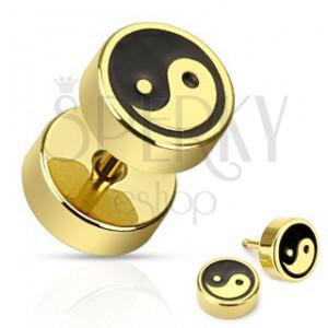 Nemesacél fake plug - arany és fekete Jing Jang