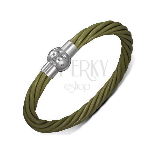 Bőr karkötő - sodrott zöld szálak, mágneses kapocs