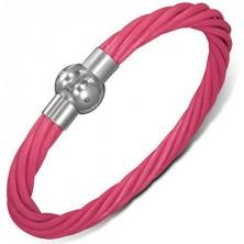 Bőr csuklópánt - sodrott rózsaszín szálak, mágneses kapocs