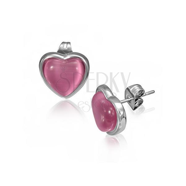 Stekkeres acél fülbevaló rózsaszín kővel, szív keretben