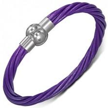 Bőr karkötő - sodrott lila fonalak, mágneses kapocs