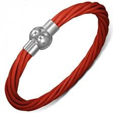 Karkötő bőrből - sodrott piros fonalak, mágneses kapocs