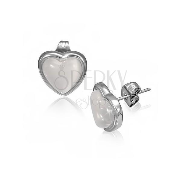 Fülbevaló acélból - fehér kő szív alakú keretben