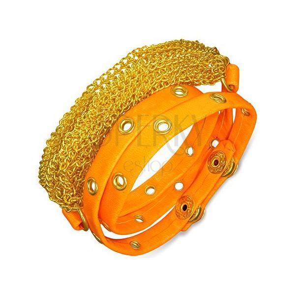 Műbőr karkötő - arany láncok, neon narancs szegecses sáv