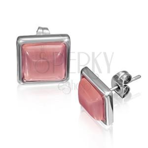 Bedugós négyzet fülbevaló - rózsaszín kő keretben