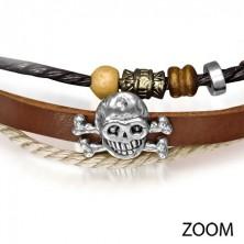 Karkötő bőrből - patinás koponya, sodrott fonalak, gyöngyök