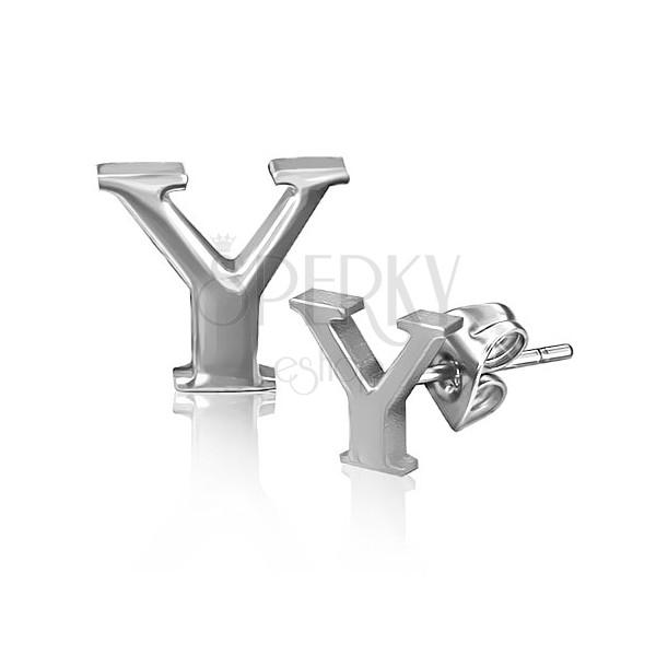 Bedugós fülbevaló acélból - fényes Y betű