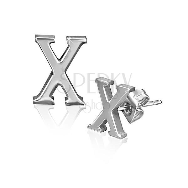 Minőségi acél fülbevaló - fényes X betű