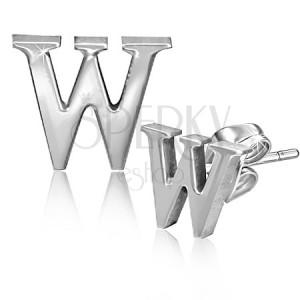 Bedugós acél fülbevaló - nyomtatott W betű