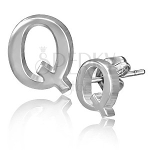 Stekkeres acél fülbevaló - sima Q betű