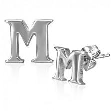 Bedugós fülbevaló acélból - nyomtatott M betű