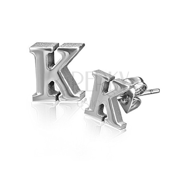 Fülbevaló acélból - K betű forma, stekkeres kapocs