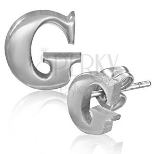 Nemesacél fülbevaló - egyszerű G betű, stekkeres