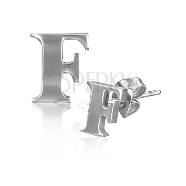 Bedugós acél fülbevaló - nyomtatott F betű