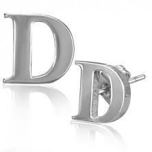 Nemesacél fülbevaló - D betű, stekkeres