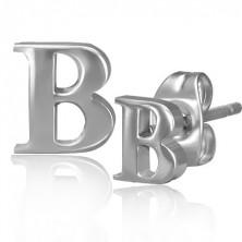 Acél fülbevaló - fényes B betű forma