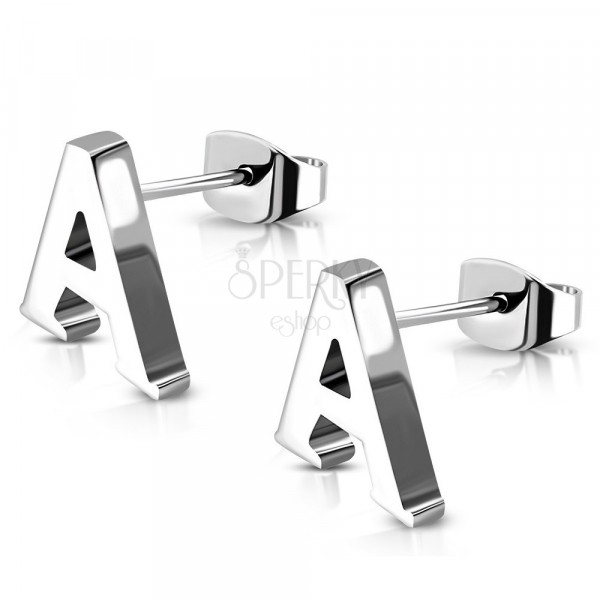Stekkeres acél fülbevaló - nyomtatott A betű