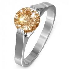 """Gyűrű nemesacélból  - sárga kő """"November"""", oldalsó fogatok"""
