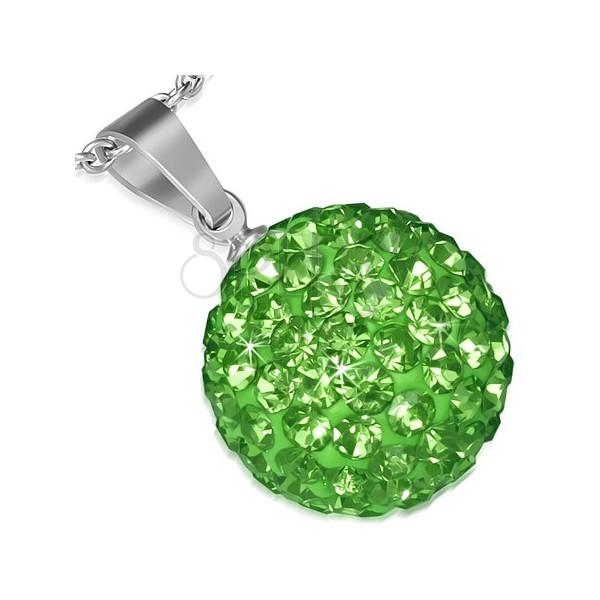 Medál acélból SHAMBALLA - ragyogó zöld golyócska