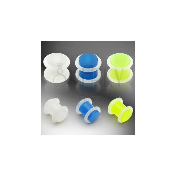 UV fültágító dugó - sötétben világító felület, két fehér gumi