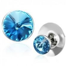 Réz fülbevaló - kék Swarovski kristály ezüst színű tartóban