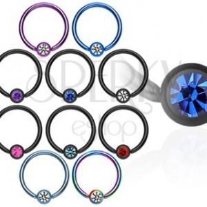 Titánium karika pirszing - többféle színes cirkónia