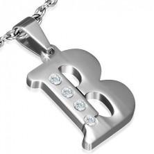 B betű mint medál, ezüst színben, cirkóniákkal