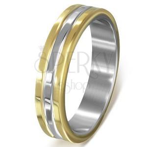 Gyűrű sebészeti acélból, arany-ezüst-arany kombinációban