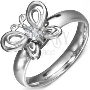 Gyűrű sebészeti acélból - könnycsepp cirkónia és pillangó