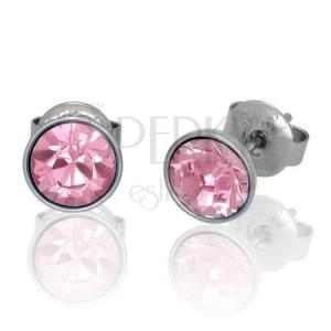 Bedugós nemesacél fülbevaló - rózsaszín Swarovski kristály